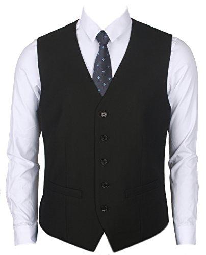 Ruth&Boaz Men's 2Pockets 5Button Business Suit Vest (XXL, BLACK) - Black Waistcoat
