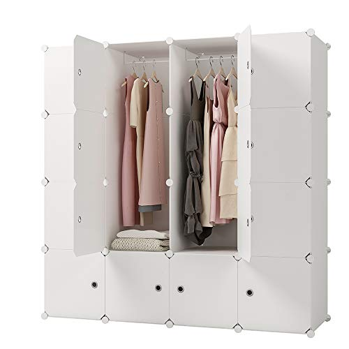 2 Drawer Wardrobe - KOUSI Portable Clothes Closet Clothing Storage Plastic Dresser Shelves Armoire Wardrobe Moving Boxes Rack Bins Shelf Closet for Bedroom Organizers and Storage, White, 10 Cubes 2 Hanging Sections