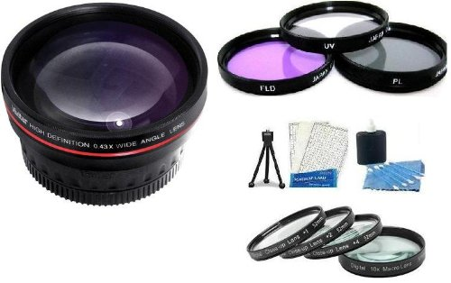 Essential Lens Kit Includes 52mm HD .43x Wide Angle Lens w/ Macro + 52MM Close Up Lens Kit Includes +1 +2 +4 +10 + 3pc High Res Filter Kit (UV-CPL-FLD) + Mini Tripod + LCD Screen Protectors + Camera Cleaning Kit for Fuji Fujifilm X-Pro 1 Digital Camera That Use (18mm f/2.0 XF R, 35mm F/1.4 XF R)