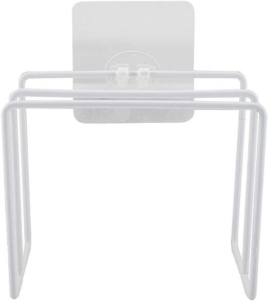 Blanco organizador de tabla de corte de tapas de olla y sart/én autoadhesivo montado en la pared Organizador de tapa de olla