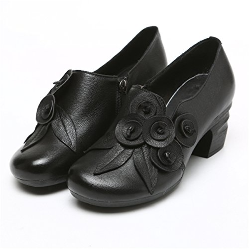 Socofy Leather Mid Heel Shoes,Women Retro Handmade Floral Fashion Stitching Zipper Round Head Cute Shoes Black