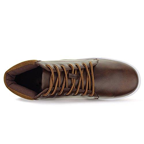 Hawkwell Mens Haut-top Mode Moderne Sneaker Marron