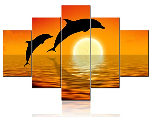 Red Wall Decor Rendering of Dolphins Leaping Pictures Seaview Paintings 5 Piece Canvas Wall Art Contemporary Artwork Living Room House Decorations Framed Ready to Hang Poster and Prints(60''Wx40''H)