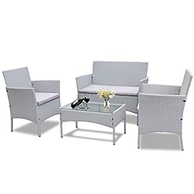 bigzzia Rattan Outdoor Furniture Sofa Set 4 piece Grey