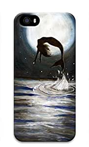 3D Hard Plastic Case for iPhone 5 5S 5G,Mermaid Jumping Out of Sea Case Back Cover for iPhone 5 5S