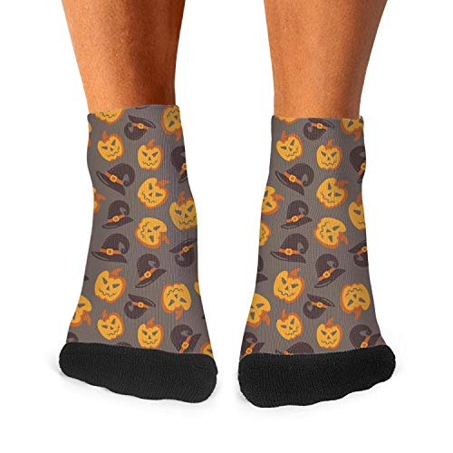 Halloween Pumpkin carving witch hat gray mens socks cool socks]()