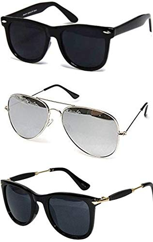 4229e1ef2af Sheomy Best Gift Sets of Unisex Combo Offer of Stylish Sunglasses for Girls  and Boys and Men and Women Branded Low Price Gogals ( Silver Frame ...