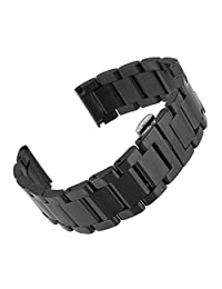 Beauty7 23mm Black Stainless Steel Link Wrist Watch Band Bracelet Strap Replacement Butterfly Buckle Clasp