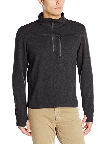 ExOfficio Men's Kahve Thermal 1/4 Zip, Black, - Wool Officio Ex Vest