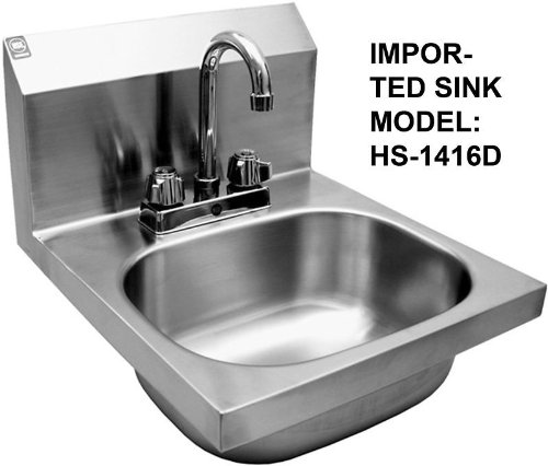 WASH HAND SINK STAINLESS STEEL WITH DECK FAUCET HS1416D by BSM