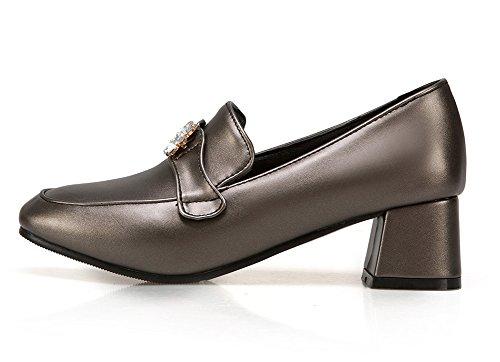 Sfnld Womens Retro Rhinestone Round Toe Slip On Comfy Medium Block Heels Pumps Shoes Bronze oHfbJmkV
