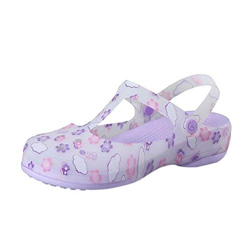 Chaussures Bottes De Plage Gelée Trous De Antidérapants Respirant Rainboots Chaussures Pluie Souples D'été Hzjundasi Sandales Dames Imprimé Violet Chaussures q7xvqp