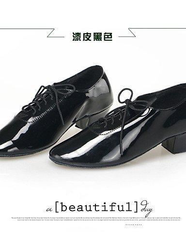 ShangYi Non Customizable Men's/Kids' Dance Shoes Modern Leatherette Low Heel Black Black C817C