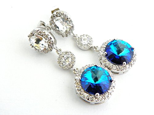 Bermuda Blue Bridesmaid or Bridal Wedding Earrings Swarovski Crystal Jewelry Long Dangle Post Earings - Choose from Round or Oval Clear Top
