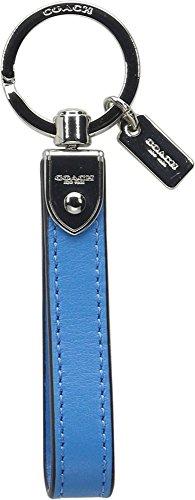 Coach Leather Loop Key Ring Keychain Fob Azure