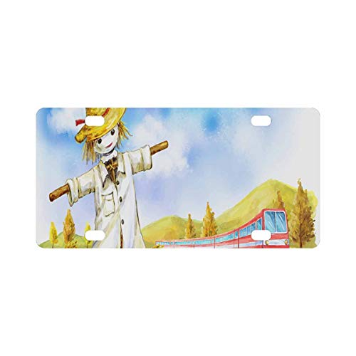 INTERESTPRINT Red Train Passing a Lone Scarecrow in a Field Metal License Plate Cover