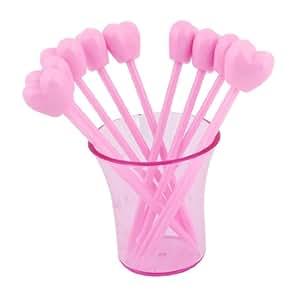 Heart Shaped Fruit Forks 10 Pcs Pink w Plastic Holder Set