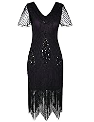 Black Purple 1920s Sequin Art Dress with Sleeve
