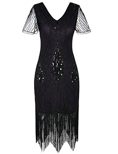 PrettyGuide Women's 1920s Dress Art Deco Sequin Fringed Flapper Dress L Black -