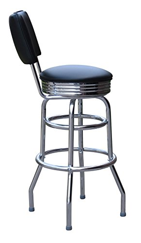 Jet Black 30 Inch Retro Bar Stool with Back – Made in the USA 0-1972BLK