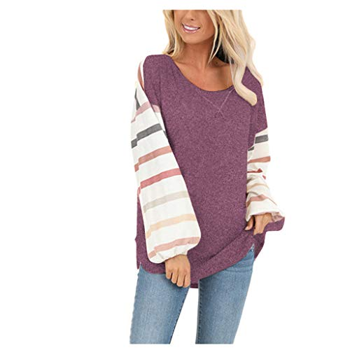 Halloween Party In Miami Beach 2019 (Color Block Tunic,Crazylover Women's Causal Blouses Tops Loose Pullover Print Round Neck Long Sleeve Striped Shirts)