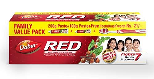 Dabur Red Ayurvedic Paste – Complete Dental Care – 200g+100g with free Binaca Tooth Brush worth Rs 21