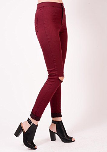 waisted jeans pants White jeans Skinny jeans Jeans Waisted high Lulu Apparel Jeans wash acid PU jeans leather Ripped disco denim Lily ripped High skinny high skinny waisted Burgundy Black HwqRO70