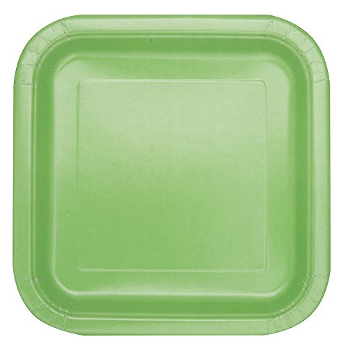 Green Square Cake Plate - Square Apple Green Paper Cake Plates, 16ct