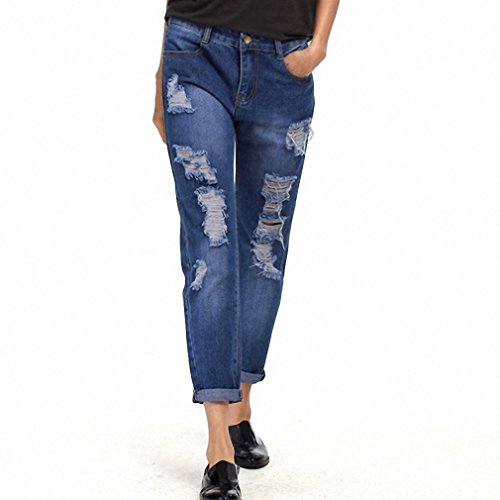 HUANLES Fashion Denim Pants women Ripped Holes Female Jea...