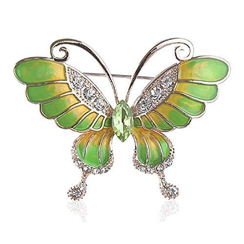 Crystal Shiny Brooch Pin - HAPPYTRY Butterfly Brooch Shiny Crystal Rhinestone Pin Gold Plated Wedding Party Jewelry Gift Men Women, Fashion Elegant Winged Insect Brooch, Green Yellow