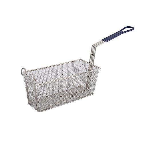 Winco FB-20, 13.25 x 5.6 x 5.9-Inch Nickel Plated Fry Basket with Plastic Blue Handle, Deep Fryer Basket