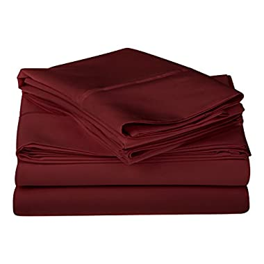 1200 Thread Count 100% Premium Long-Staple Combed Cotton, Single Ply, King Bed Sheet Set, Solid, Burgundy