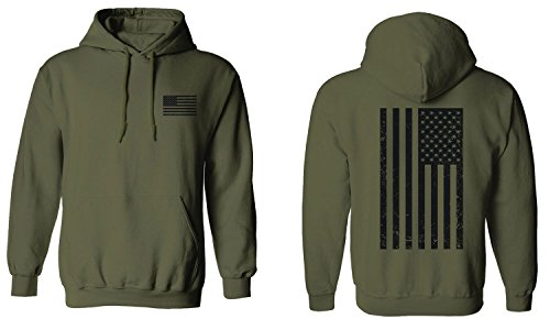 (Vintage American Flag United States of America Military Army Marine us Navy USA Hoodie (Olive, Large))