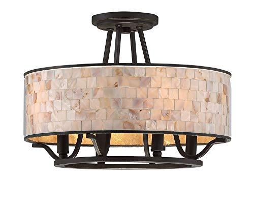 "Aristocrat Semi-Flush Mount Ceiling Lighting, 4-Light, 240 Watts, Palladian Bronze (12"" H x 16"" W) - Quoizel AS1716PN"