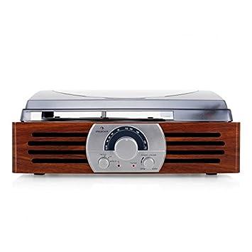 Auna TT-83N - Tocadiscos (Tocadiscos de tracción por Correa, Madera, 33,45 RPM, FM, Corriente alterna, 2,2 kg)