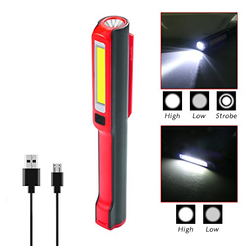 USB Rechargeable Work Light, RuiFengShun Portable COB Work Inspection Lights+LED Flashlight with Magnetic Base & 120° Rotating Clip, Multi Dimming Modes, for Car Truck Repair,Home Using, Emergency