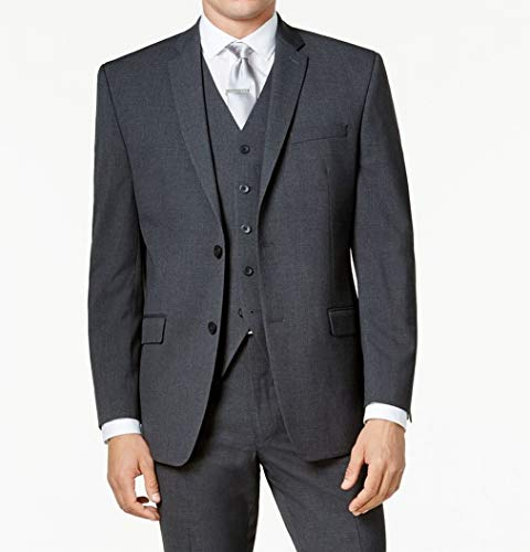 Marc York Mens Long Two Button Vested Blazer Gray 42 ()