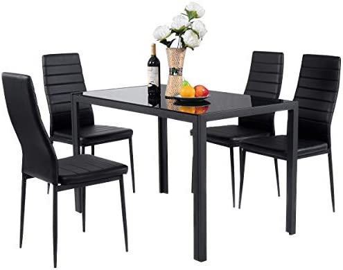 Giantex 5 Piece Kitchen Dining Table Set with Glass Table Top Leather Padded 4 Chairs and Metal Frame Table for Breakfast Dining Room Kitchen Furniture, Black