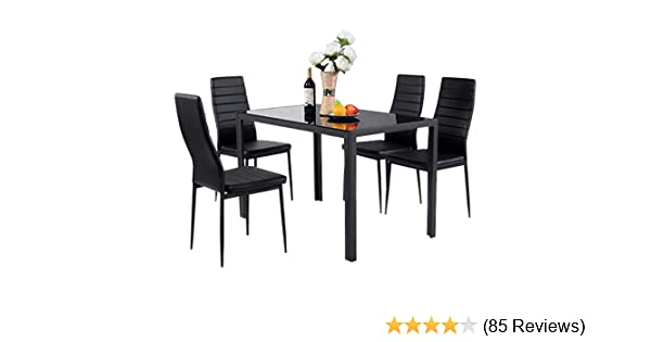 Giantex 5 Piece Kitchen Dining Table Set with Glass Table Top Leather  Padded 4 Chairs and Metal Frame Table for Breakfast Dining Room Kitchen  Furniture f372585a3