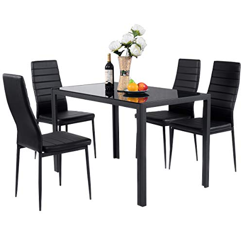 Giantex 5 Piece Kitchen Dining Table Set with Glass Table Top Leather Padded 4 Chairs and Metal Frame Table for Breakfast Dining Room Kitchen Furniture, Black ()