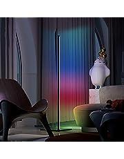 MMcRRx Smart RGB led vloerlamp dimbaar, minimale lamp led vloerlamp kleurverandering, 1000 lumen, 3000 K-6000 K, traploos dimmen en lamp met kleurwisselsfeer, 154 cm zwart, voor lobby, feest, woonkamer