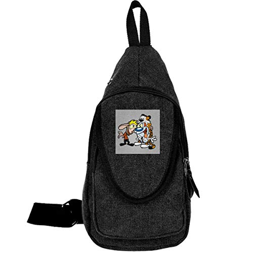 Ren And Stimpy Costumes (Ren And Stimpy Calvin And Hobbes Costumes Traveling Chest Bags For Men&Women Multipurpose Casual Daypack Hiking Shoulder)