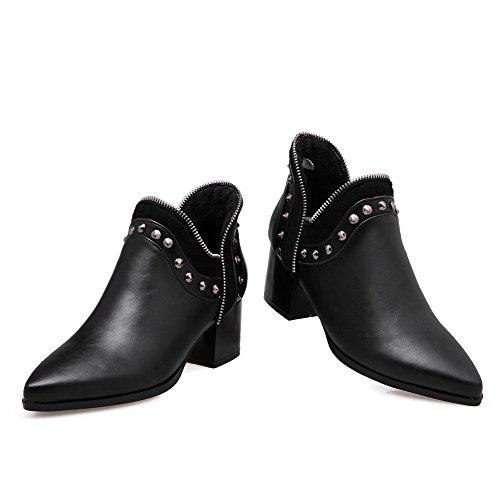 AllhqFashion Damen Knöchel Hohe Eingelegt Ziehen auf Mittler Absatz Stiefel mit Rivet Set Schwarz