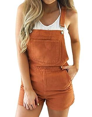 Ermonn Women Juniors Cute Orange Bib Denim Overall Shorts Jeans Shortalls