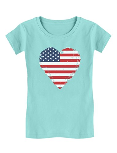 (TeeStars - Love USA 4th of July American Heart Flag Girls' Fitted Kids T-Shirt XL (11-12) Chill Blue)