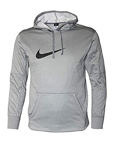 Nike Men's Therma Fit Graphic Hoodie (Cool Grey Heather/Black, X-Large) (Fit Hoodie Men Nike Therma)