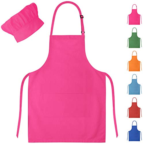 Pink Kids Apron & Chef Hat for Boys & Girls Ages -