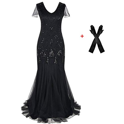 Women Evening Dress 1920s Flapper Cocktail Mermaid Plus Size Formal Gown with Gloves (XXL/US 18-20, -