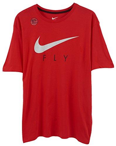 Nike Basketbal Vliegen Grafisch Tee Shirt Rood 645155 Rood