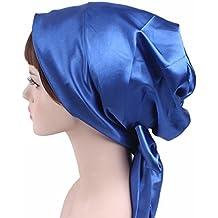 Wcysin Satin Bow Headscarf Comfortable Sleeping Bonnet Curly Hair Wrap Womens Silk Head Scarf Head Wrap Cap (All blue)
